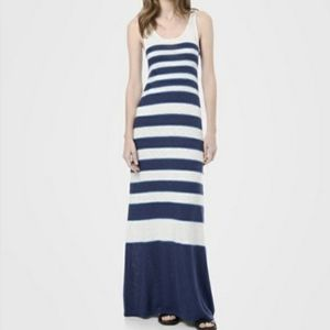 Vince blue white striped sleeveless maxi dress